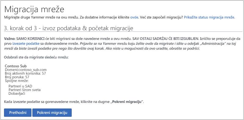 Snimak ekrana korak 3 3 - izvoz podataka i započeli migraciju.