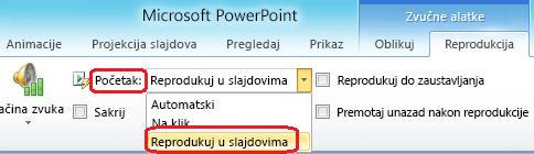 """Opcija """"Reprodukuj u pozadini slajdova"""" za zvučnu datoteku u programu PowerPoint 2010"""