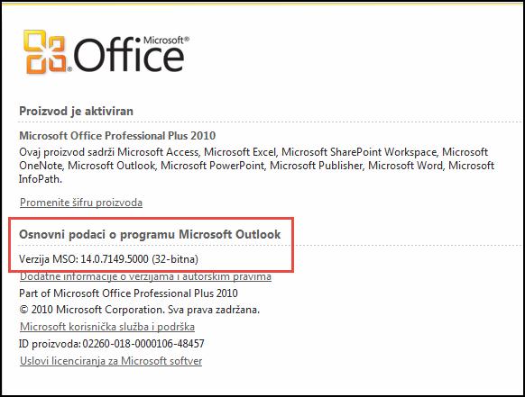 Snimak ekrana stranice gde možete da proverite verziju programa Outlook 2010, u okviru osnovni podaci o programu Microsoft Outlook