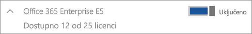 Prikazuje licence za Office 365 Enterprise E5 dostupna 12 licenci.