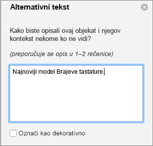 Okno alternativni tekst u programu Word