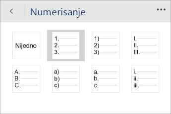 """Snimak ekrana menija """"Numerisanje"""" u programu Word Mobile sa izabranim stilom numerisanja."""