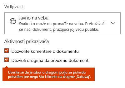 Opcija za preuzimanje dokumenta na sajtu Docs.com