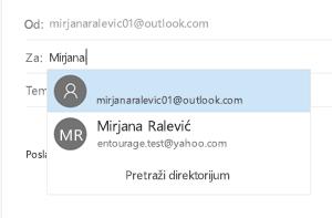 Izaberite kontakt sačuvana u aplikaciji osobe