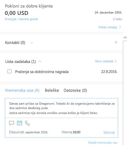 Dodavanje nove aktivnosti u Outlook menadžeru klijenata
