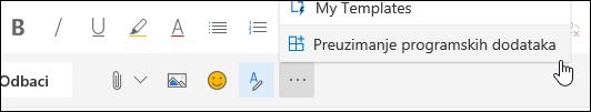 Snimak ekrana na dugme Preuzmi programskih dodataka