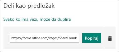 """Obrazac predložak URL adresu veze pored Kopiraj """"i"""" Izbriši """"."""