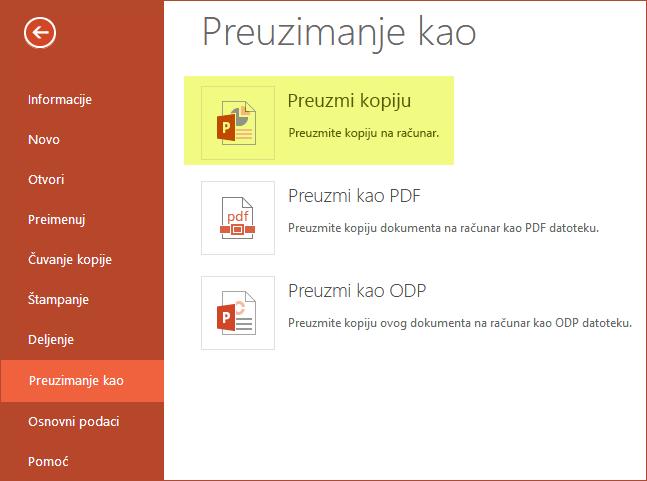 Korišćenje preuzimanje kopije da biste sačuvali prezentaciju na računaru