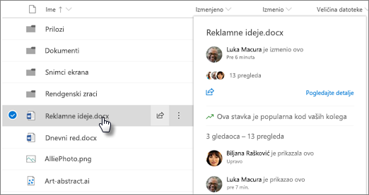 Snimak ekrana iskačuću karticu datoteke koja se pojavljuje kada postavite pokazivač datoteke u OneDrive ili SharePoint