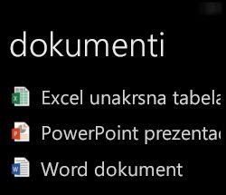 Dokumenti radne površine se prikazuju na Windows Phone uređaju kada je pokrenut Office Remote.