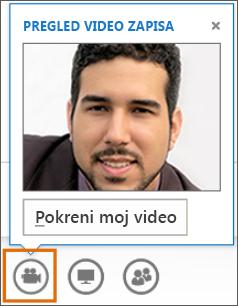 Snimak ekrana pokretanja video zapisa na sastanku pomoću pregleda video zapisa