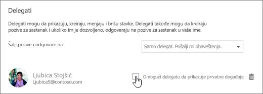 Snimak ekrana neka delegat prikaz privatne događaje izbor.