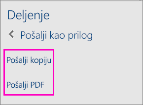 """Slika dve opcije u oknu """"Deljenje"""" za slanje dokumenta kao kopije ili u vidu PDF dokumenta"""