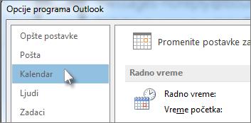 "Izbor stavke ""Kalendar"" u opcijama programa Outlook."