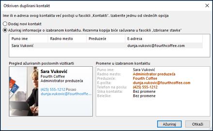 Ako imate duplikat kontakta, Outlook vas pita da li želite da ažurirate.
