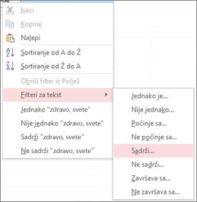Prikaz opcija za filtriranje u kontekstualnom meniju