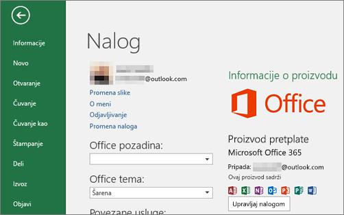 """Microsoft nalog povezan sa sistemom Office pojavljuje se u prozoru """"Nalog"""" Office aplikacije"""