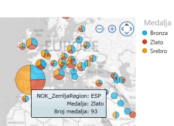 Više informacija o vizuelizacijama mape – jednostavno zadržite pokazivač
