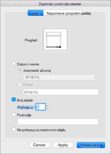 Prikazuje dijalog za zaglavlja i podnožja stranice u programu PowerPoint 2016 za Mac