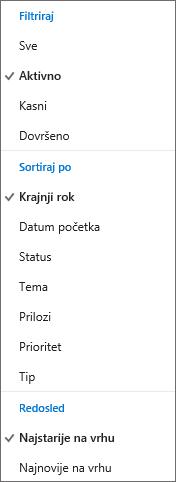 Odaberite kako da biste izvršili filtriranje, sortiranje i ordert zadatke na listi zadataka Outlook.com