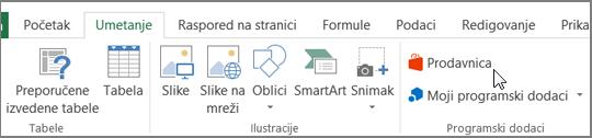 """Snimak ekrana odeljka kartici """"Umetanje"""" na glavnoj traci programa Excel sa kursorom koji pokazuje na prodavnicu. Izaberite radnju da posetite Office prodavnicu i potražite programski dodaci za Excel."""