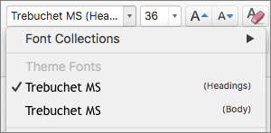 """Snimak ekrana prikazuje opcije """"Fontovi teme"""" za stavke """"Naslovi"""" i """"Telo"""" koje su dostupne putem padajućeg menija """"Font"""" u grupi """"Font"""" na kartici """"Početak""""."""