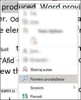 Kontekstualni meni u programu Word sa izabranim pametnim pronalaženjem.