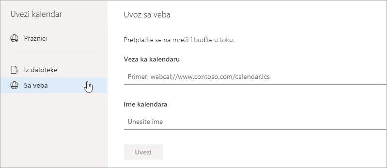 Snimak ekrana uvoz iz web opcija