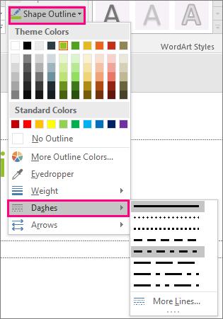 Prikazuje različite stilove linija u sistemu Office