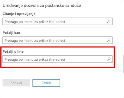 Snimak ekrana: Dozvoljavanje drugom korisniku da šalje u ime ovog korisnika