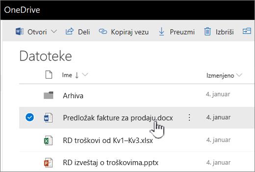 OneDrive sa izabranim datotekama
