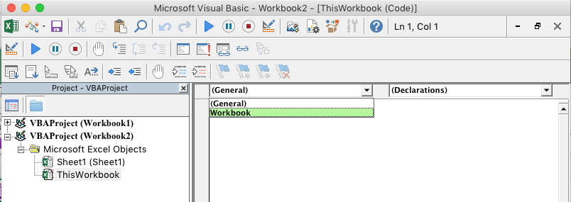 VBE uređivač prikazuje padajuću listu za izbor objekta