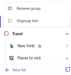 """Snimak ekrana grupe """"putovanja"""" i """"meni za uređivanje"""" otvorite pomoću opcije za preimenovanje grupa i razgrupisavanje lista"""