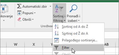 Početak > Sortiraj i filtriraj > Filter