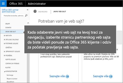 """U usluzi Office 365 odaberite stavku """"Javna veb lokacija"""""""