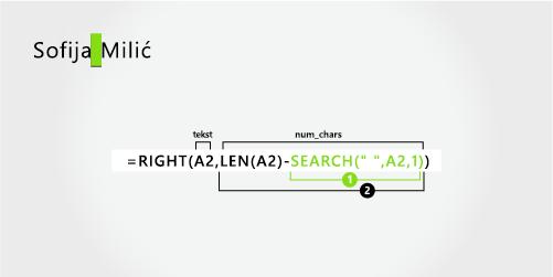 Formula za razdvajanje imena i prezime iz tri dela