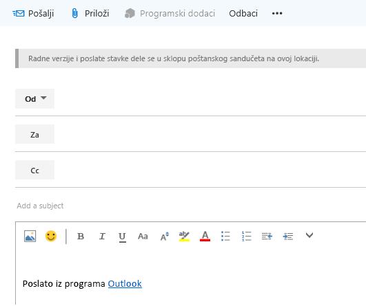 Dodavanje adresa u e-poruku u poštanskom sandučetu na veb sajtu