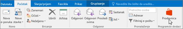 """Snimak ekrana koji prikazuje karticu """"Početak"""" u programu Outlook sa kursorom koji pokazuje na ikonu """"Prodavnica"""" u grupi """"Programski dodaci""""."""