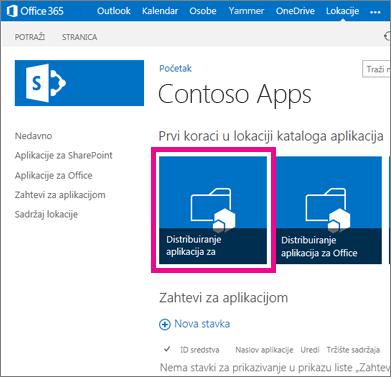 """Pločica """"Distribuiraj aplikacije za SharePoint"""" na lokaciji """"Katalog aplikacija"""""""