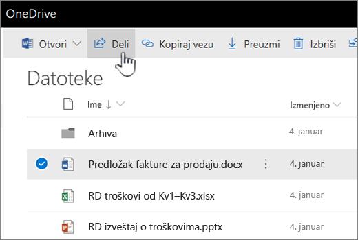 """OneDrive sa datotekom izabrana i dugme """"Deli"""" koja se gurnuli"""