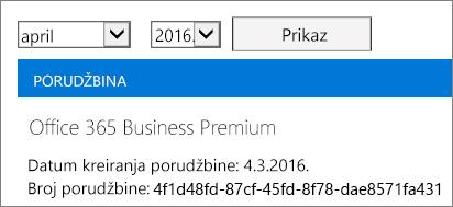 """Snimak ekrana stranice """"Računi"""" u Office 365 centru administracije."""