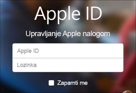 Prijavite se pomoću iCloud korisničkog imena i lozinke