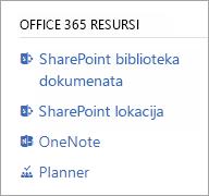 Office 365 resursi odeljak za povezani grupe