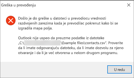 Ovo je poruka o grešci koju ćete dobiti kada je .csv datoteka prazna.