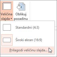 "Opcija menija ""Prilagođena veličina slajda"""