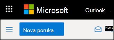 Izgled trake u programu Outlook na vebu.