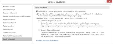 """Odeljak """"Opcije privatnosti"""" u postavkama centra za pouzdanost u sistemu Office za Windows"""