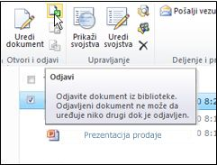 """Traka sistema SharePoint sa izabranom opcijom """"Odjavi"""""""