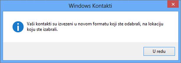 Videćete završnu poruku da su kontakti izvezeni u csv datoteku.