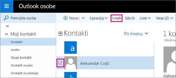 """Snimak ekrana dela stranice """"Outlook osobe"""". Na snimku ekrana potvrđen je izbor u polju za potvrdu pored imena kontakta i postoji oblačić za komandu """"Uredi"""" na traci sa alatkama."""